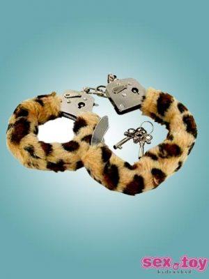 Fetish Fantasy Furry Hand Cuffs in Leopard - sextoyinhyderabad.com